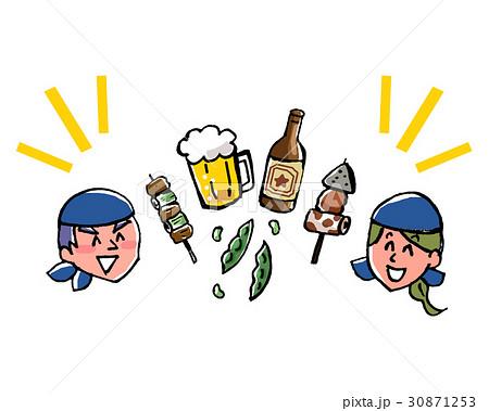 居酒屋店員とビールとつまみのイラスト 30871253