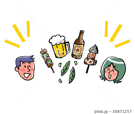 若い男女とビールとつまみのイラスト 30871257