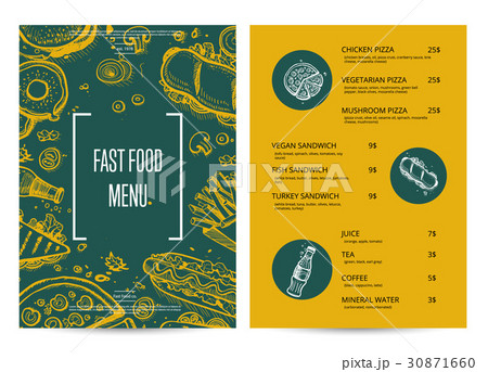Restaurant menu with food pencil doodlesのイラスト素材 [30871660] - PIXTA