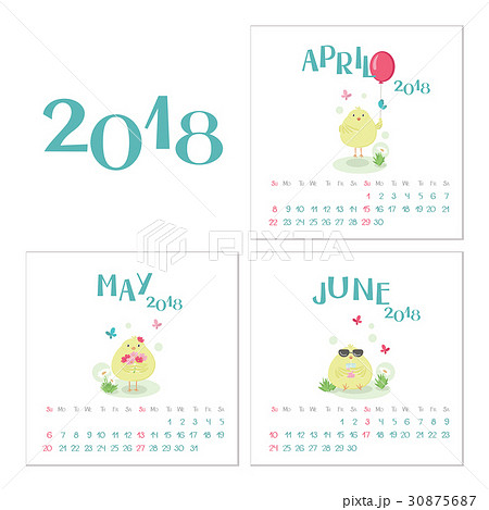 Calendar 2018. April, May and June. 30875687