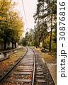 Railway Road At Autumn Rainy Day 30876816