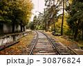 Railway Road At Autumn Rainy Day 30876824