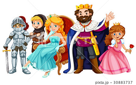 fairytale characters with king and queenのイラスト素材 30883737