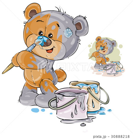Vector illustration of a brown teddy bear paints 30888218