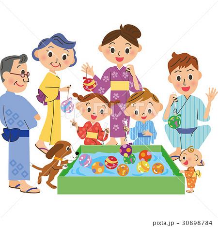 お祭り 三世代家族 30898784
