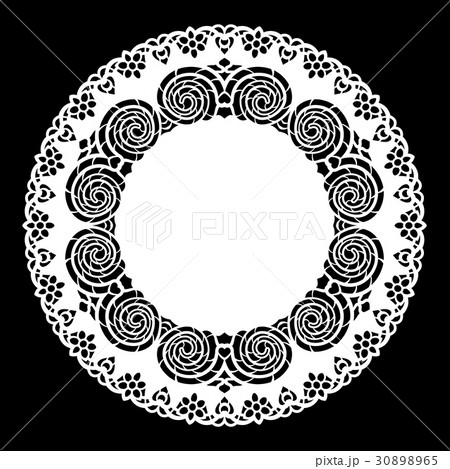 Lace round paper doily, greeting element,laser cut 30898965
