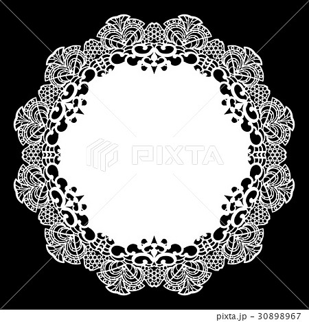 Lace round paper doily, greeting element,laser cut 30898967