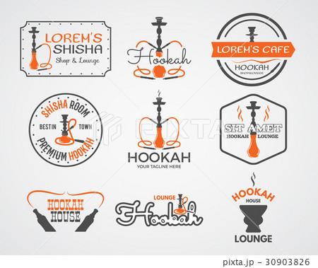 Hookah labels, badges and design elementsのイラスト素材 [30903826] - PIXTA