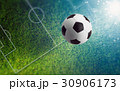 Soccer ball on green soccer field 30906173