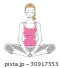 下半身 ストレッチ 足の裏を合わせて座る女性  30917353