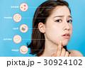 女性の肌トラブル(ニキビ・そばかす・しみ・しわ・たるみ) 30924102