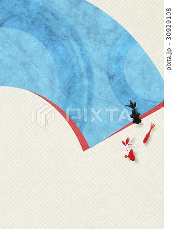 和を感じる背景素材 (扇、金魚) 30929108