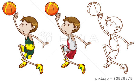 drafting character for basketball player dunkingのイラスト素材