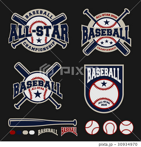 baseball badge logo templateのイラスト素材 30934970 pixta