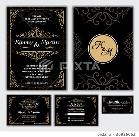 elegant wedding invitation designのイラスト素材 30936062 pixta