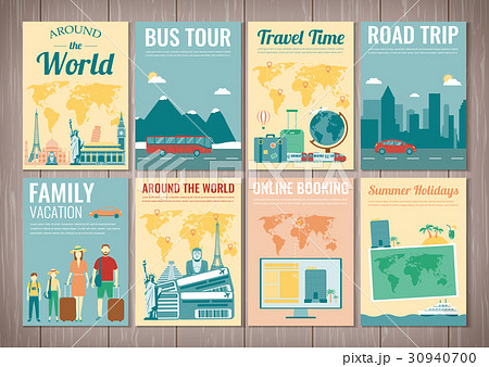 travel and tourism brochure set template ofのイラスト素材 30940700