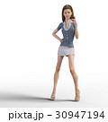ポーズするビジネスウェアの女性 ビジネスウーマン perming3DCGイラスト素材 30947194