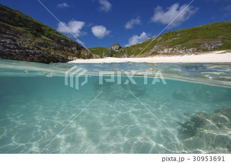 南島の扇池の白砂のビーチ 30953691