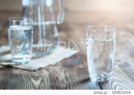 Glass of water on a wooden table.の写真素材 [30962638] - PIXTA