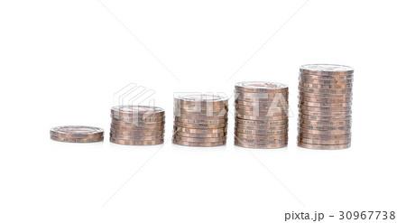 Thai ten Baht silver coins stack  on white の写真素材 [30967738] - PIXTA