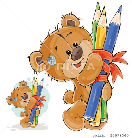 Vector illustration of a brown teddy bear holding 30973540
