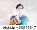 Asian Man Pressing High Tech Virtual Screen 30975847