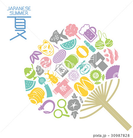 日本の夏 うちわ型のアイコンセット 30987828