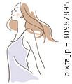 女性 横顔 深呼吸 30987895