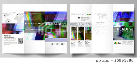 tri fold brochure business templates on both sidesのイラスト素材