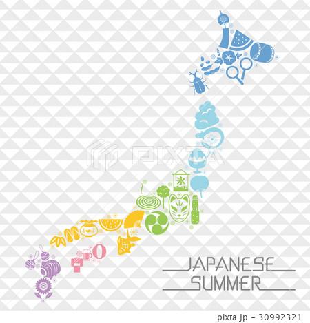 日本の夏 日本列島型のアイコンセット 30992321