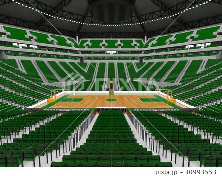 Beautiful modern basketball arena with green seats 30993553
