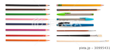 Set  of pencils and  paintbrushes. 30995431