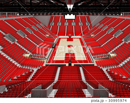 Beautiful modern basketball arena with red seats 30995974