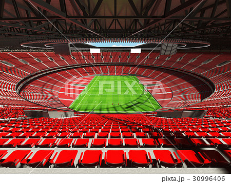 Beautiful modern rugby stadium with red seats 30996406