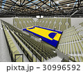 Modern handball arena with olive green seats 30996592