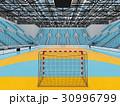 Modern handball arena with sky blue seats 30996799