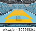 Modern handball arena with sky blue seats 30996801