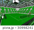 Beautiful modern handball arena with green seats 30998241