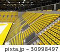 Modern handball arena with bright yellow seats 30998497