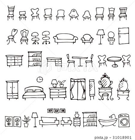手描きのかわいい家具イラストのイラスト素材 31018901 Pixta