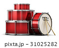 Red drum set with drumsticks 31025282