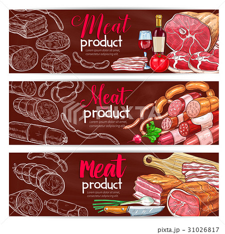 Vector banners for butchery shop meat products 31026817
