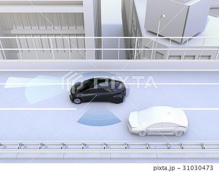 自動運転車の車線維持及び死角検知支援のコンセプトイメージ 31030473