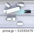 高速道路の事故現場に衝突被害軽減ブレーキによる二次事故回避のコンセプトイメージ 31030476