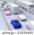 渋滞中の前方車両を追従して運転するクルマ。ドライブアシストのコンセプトイメージ 31030485