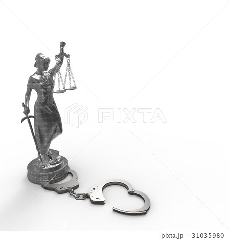 lady of justice statue and handcuffs 3d renderingのイラスト素材