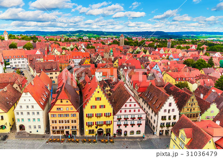 aerial panorama rothenburg ob der tauber germanyの写真素材