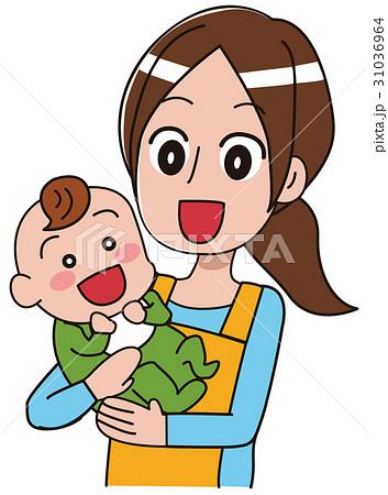 赤ちゃんを抱きかかえる保育士のイラスト 31036964