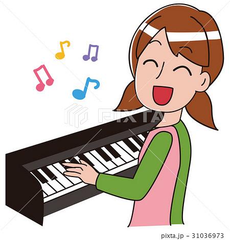 ピアノを弾きながら歌を歌う保育士のイラスト 31036973