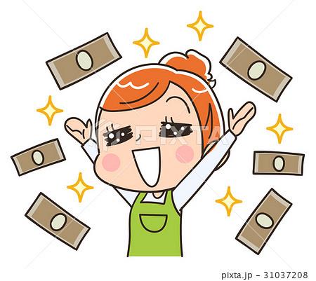 お金と主婦のイラストのイラスト素材 31037208 Pixta